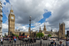 LONDON, ENGLAND - JUNE 16 2016: Houses of Parliament with Big Ben, Westminster Palace, England, Great Britain. LONDON, ENGLAND - JUNE 16 2016: Houses of Royalty Free Stock Photo