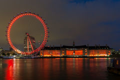 LONDON, ENGLAND - JUNE 16 2016: Night photo of The London Eye and County Hall, Westminster, London, England Royalty Free Stock Photos