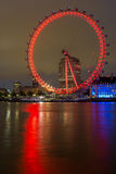 LONDON, ENGLAND - JUNE 16 2016: Night photo of The London Eye and County Hall, Westminster, London, Great Britain Stock Photo