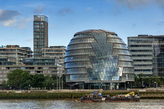 LONDON, ENGLAND - JUNE 15 2016: Night view City Hall in city of London from Thames river, England Stock Photos