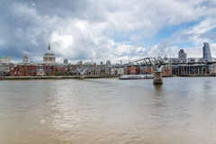 LONDON, ENGLAND - JUNE 15 2016: Panorama with St. Paul`s Cathedral and Millennium bridge, London, Great Britain Stock Photos