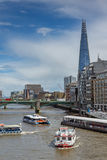 LONDON, ENGLAND - JUNE 15 2016: Panoramic view of Thames River in City of London, England Stock Photo