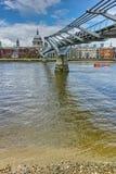 St. Paul`s Cathedral and Millennium bridge, London, England, Great Britain. LONDON, ENGLAND - JUNE 15, 2016:  St. Paul`s Cathedral and Millennium bridge, London Stock Photos