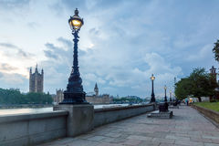 LONDON, ENGLAND - JUNE 16 2016: Sunset view of Houses of Parliament, Westminster palace, London, England Royalty Free Stock Images