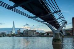 London, England - June 17 2016: Twilight on the Thames river, Millennium Bridge and The Shard, London Royalty Free Stock Photos