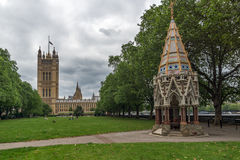 LONDON, ENGLAND - JUNE 19 2016 Victoria Tower in Houses of Parliament, Palace of Westminster,  London, England Stock Photo