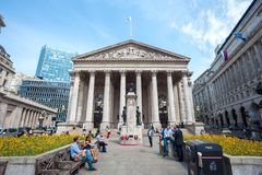 Western Portico of the Royal Exchange building, London. LONDON, ENGLAND - JUNE 10, 2016 - Western Portico of the Royal Exchange building, London royalty free stock photography