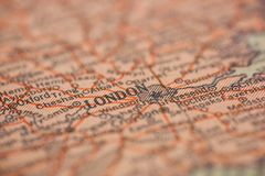 London England Map. London, England is the center of focus on an old map stock image
