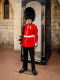British Royal Guard in red Uniform at Tower of London on May 28,2016 in London stock photo