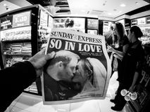 Royal Wedding Headlines in United Kingdom Newspapers. LONDON, ENGLAND - MAY 20, 2018: POV Sunday Express front cover newspaper in British press kiosk featuring Royalty Free Stock Image