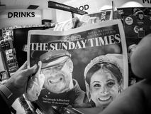 Royal Wedding Headlines in United Kingdom Newspapers. LONDON, ENGLAND - MAY 20, 2018: POV The Sunday Times front cover newspaper in British press kiosk featuring Royalty Free Stock Photos