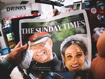 Royal Wedding Headlines in United Kingdom Newspapers. LONDON, ENGLAND - MAY 20, 2018: POV The Sunday Times front cover newspaper in British press kiosk featuring Stock Image
