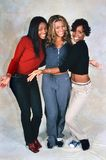 Destiny`s Child. LONDON, ENGLAND - NOV 18, 2000: Michelle Williams, Beyoncé Knowles and Kelly Rowland singers of Destiny`s Child during a photoshoot in London royalty free stock images