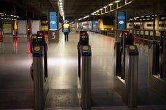 LONDON, ENGLAND - NOVEMBER 7, 2014  Electronic pass gate on metr Royalty Free Stock Image