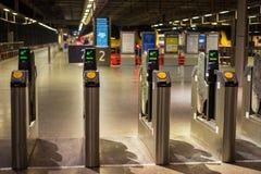 LONDON, ENGLAND - NOVEMBER 7, 2014  Electronic pass gate on metr Royalty Free Stock Photography