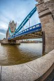 Fish Eye view architecture from Tower Bridge and London over riv. LONDON, ENGLAND - NOVEMBER 27, 2017: Fish Eye view architecture from Tower Bridge and London Royalty Free Stock Images