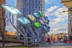 Futuristic signs outside Westfield mall in Stratford, London. LONDON, ENGLAND - NOVEMBER 30, 2017: Futuristic signs outside Westfield mall in Stratford. Central Stock Photos