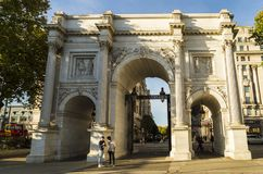 Marble Arch in London modeled after the Constantine Arch in Rome and Arc D` Triumph in Paris. London, ENGLAND - October 25 2017: Marble Arch in London, created Royalty Free Stock Image