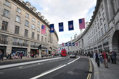 London, England - October 2013 :Oxford Circus. Row of Historic Buildings in London Stock Photography