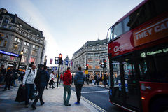 LONDON, ENGLAND - OCTOBER 30, 2015: Oxford street on sale season. On Sunday's evening. This street is a major shopping street of London Stock Photography