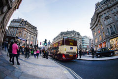 LONDON, ENGLAND - OCTOBER 30, 2015: Oxford street on sale season. On Sunday's evening. This street is a major shopping street of London Stock Photos