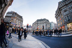 LONDON, ENGLAND - OCTOBER 30, 2015: Oxford street on sale season. On Sunday's evening. This street is a major shopping street of London Royalty Free Stock Photos