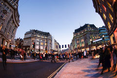 LONDON, ENGLAND - OCTOBER 30, 2015: Oxford street on sale season. On Sunday's evening. This street is a major shopping street of London Stock Image