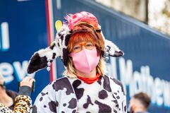 LONDON/ENGLAND- 10 October 2020: Extinction Rebellion wearing a cow costume, protesting to end the destruction of the Amazon