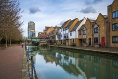 London, England - Ornamental Canal at St Katharine`s & Wapping
