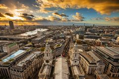 London, England - Panoramic aerial skyline view of London taken from the top of St.Paul`s Cathedral Stock Images