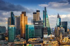 London, England - Panoramic skyline view of Bank and Canary Wharf, central London`s leading financial districts Stock Images