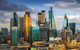 London, England - Panoramic skyline view of Bank, central London`s leading financial district with famous skyscrapers. And other landmarks at golden hour sunset stock photo