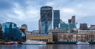 London, England - Panoramic skyline view of the famous Bank district of central London stock image