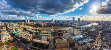 London, England - Panoramic skyline view of London with MillenniLondon, England - Panoramic skyline view of London with Millennium. London, England - Panoramic royalty free stock image