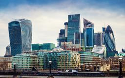 London, England - Panoramic view of Bank, London`s leading financial district Stock Photography