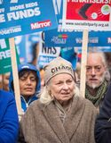 The NHS In Crisis demonstration, through central London, in protest of underfunding and privatisation in the NHS. London, England. 3rd February 2018. EDITORIAL Royalty Free Stock Photography