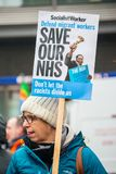 The NHS In Crisis demonstration, through central London, in protest of underfunding and privatisation in the NHS. London, England. 3rd February 2018. EDITORIAL Stock Photos