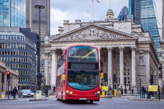 London, England - The Royal Exchange building with moving double decker bus Stock Photo