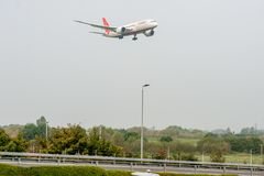 LONDON, ENGLAND - SEPTEMBER 27, 2017: Air India Airlines Boeing 787 VT-ANA landing in London Heathrow International Airport. Air India Airlines Boeing 787 VT stock photo