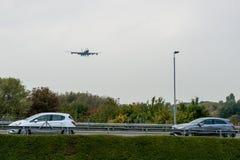 LONDON, ENGLAND - SEPTEMBER 27, 2017: British Airways Airlines Boeing Oneworld livery 747 G-CIVL landing in London Heathrow Intern Stock Photos