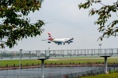 LONDON, ENGLAND - SEPTEMBER 27, 2017: British Airways Airlines Boeing Oneworld livery 747 G-CIVL landing in London Heathrow Intern Royalty Free Stock Photography