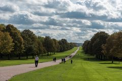 LONDON, ENGLAND - SEPTEMBER 28, 2017: Landscape in Windsor. Windsor Great Park Path in England. The Long Walk. Landscape in Windsor. Windsor Great Park Path in stock photography
