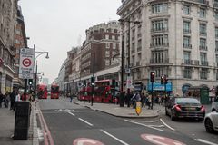 LONDON, ENGLAND - SEPTEMBER 25, 2017: London Cityscape and downtown Oxford Street with people and traffic. London Cityscape and downtown Oxford Street with Stock Images
