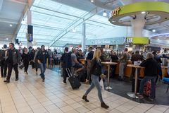 LONDON, ENGLAND - SEPTEMBER 29, 2017: Luton Airport Check Departure area with Duty Free Shop. London, England, United Kingdom. Luton Airport Departure Gate Area Royalty Free Stock Photography
