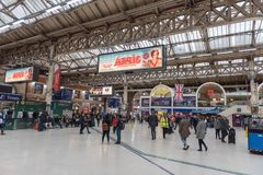 LONDON, ENGLAND - SEPTEMBER 29, 2017: Victoria Station in London, England, United Kingdom. stock image
