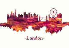 London England skyline in red. Red skyline of London, the capital of England and the United Kingdom, is a 21st-century city with history stretching back to Roman vector illustration