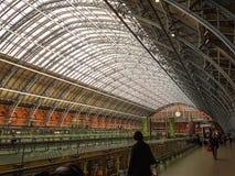 London England - St Pancras internationell station Arkivbild