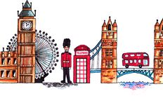 London England symbols watercolor landscape on white background stock illustration