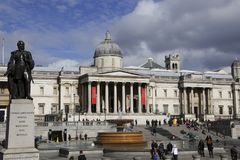 London, England: 7th March 2018: A front view of Trafalgar square with statue of Charles Napier on foreground and National gallery royalty free stock images