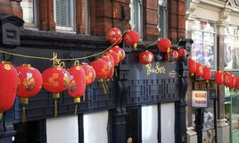 London, England: 8th March 2018: Red Chinese lanterns in China Town London royalty free stock photos
